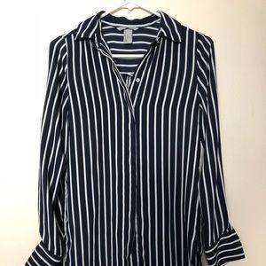 H&M Dark Navy Blue and White Stripe Blouse